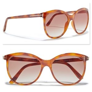 New TOM FORD Geraldine Rounded Sunglasses